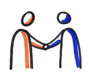 Deux personnes qui se serrent la main, c'est le début d'une relation !
